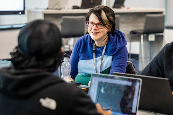 digital apprentice student in college working