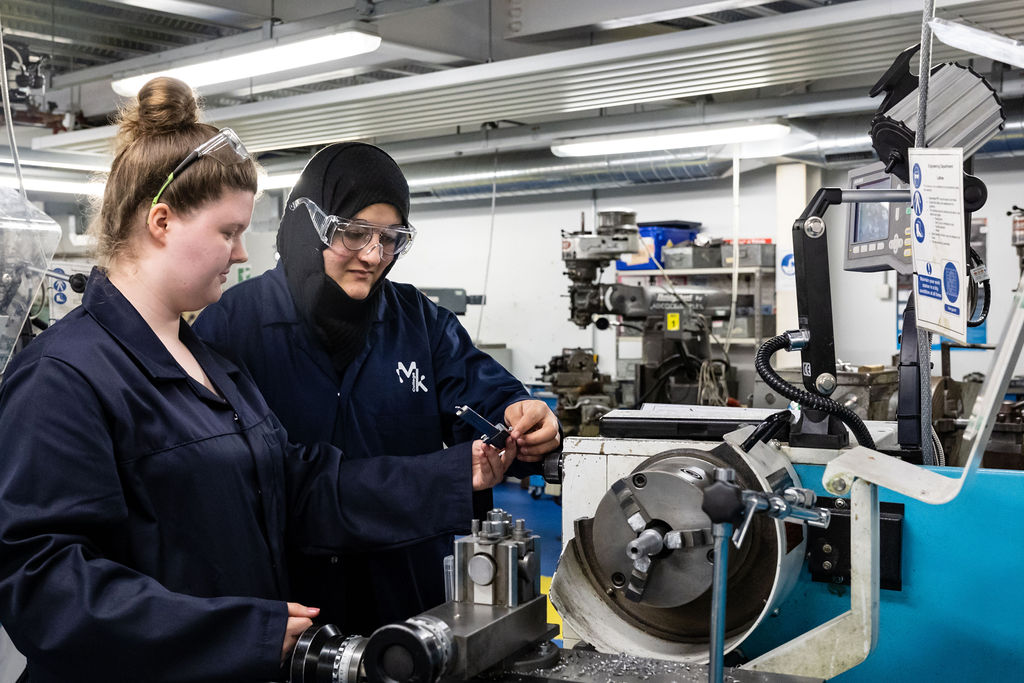 Female engineering students at work