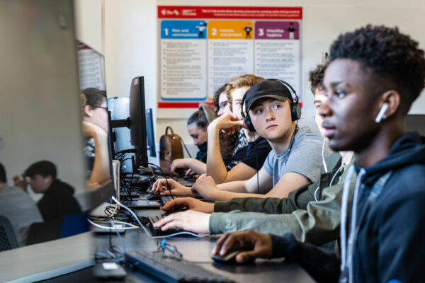 media students working at computers